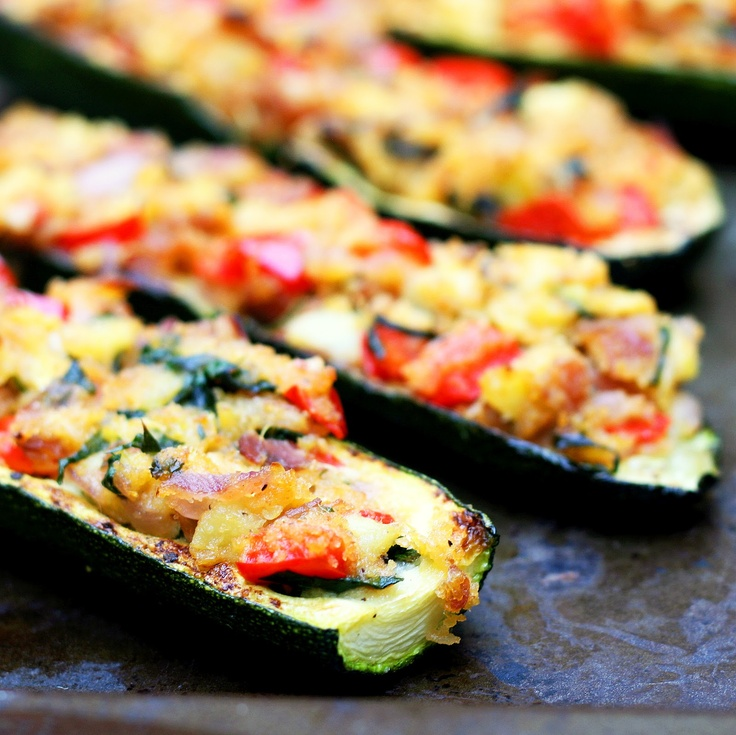 Stuffed Zucchini Boats | Food and Drink | Pinterest