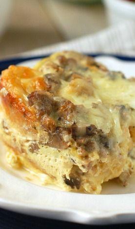 Sausage and Mushroom Overnight Breakfast Strata | Recipe