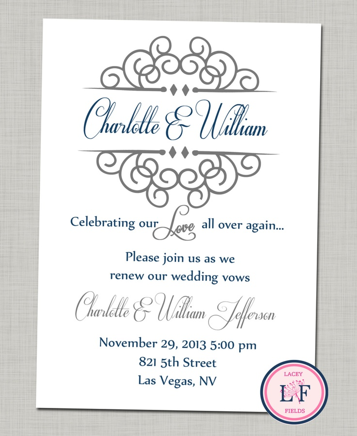 Free Printable Wedding Vow Renewal Invitations Celebrating Our Love Printable Invite Anniversary Party