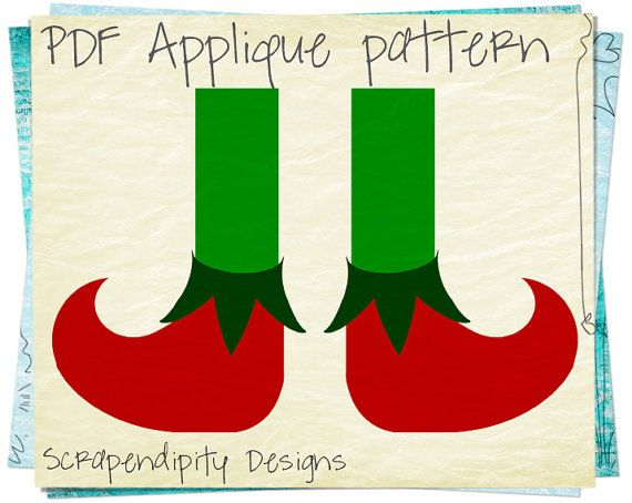 Elf Shoes Applique Pattern - Christmas Applique Template / Elf Shoes ...
