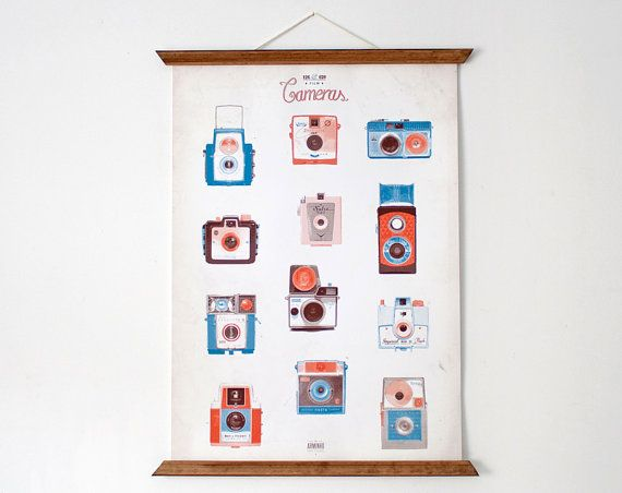 For Sean 127&620 cameras poster  vintage educational chart by ARMINHO, $70.00