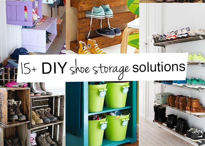 15 diy shoe storage ideas home organization pinterest - Homemade shoe storage ideas ...