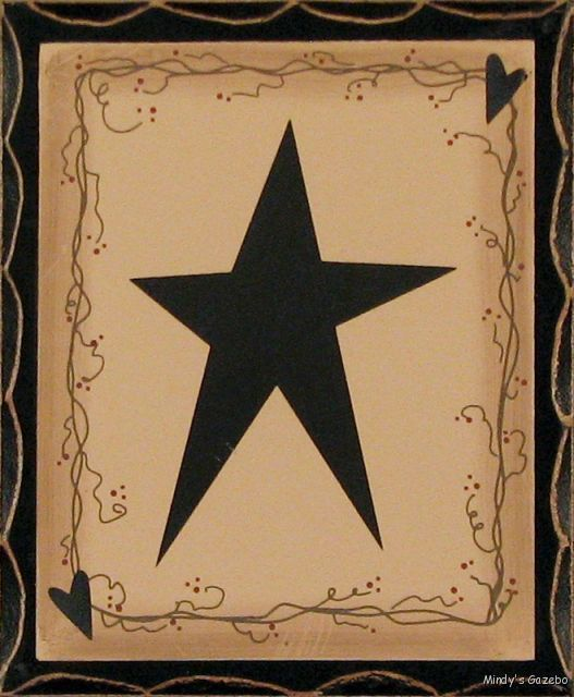 Primitive country wood standing star block sign antique for Country star decorations home