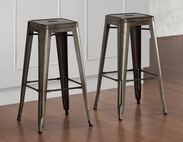Steel Vintage Bar Stools Stackable Retro Sturdy 2 Chairs