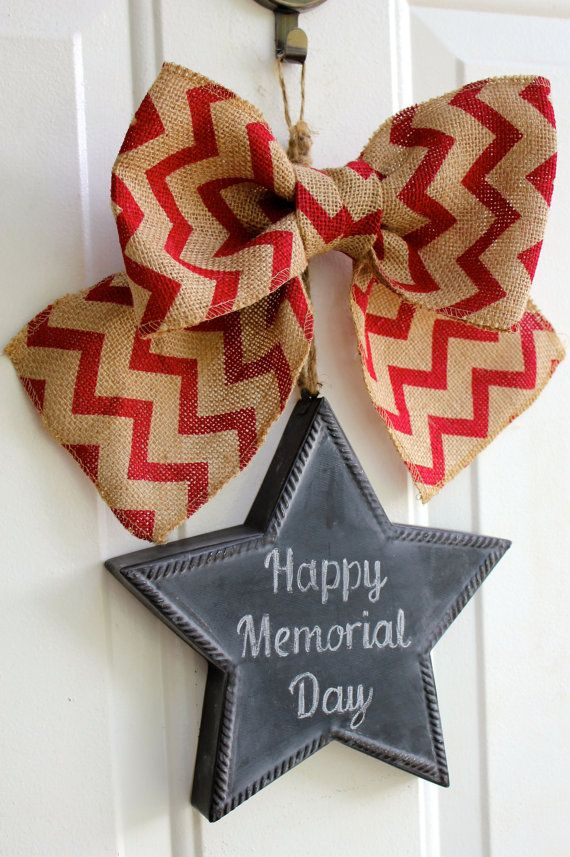 Patriotic Burlap Sign CHALKBOARD  Star Door Hanging with Red Chevron Bow Memorial Day Wreath 4th of July Independence Front Door Decoration #summertimedecor, #springdecor,