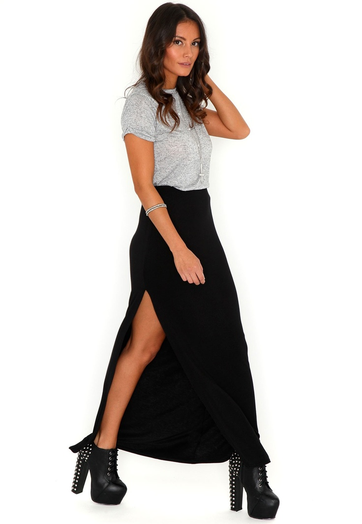 split maxi skirt in black clothes clothes more