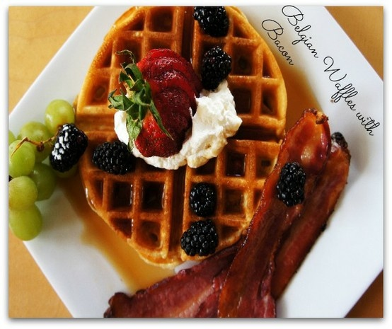 Delicious Spiced Belgian Waffles with Brown Sugar Bacon. Click for ...