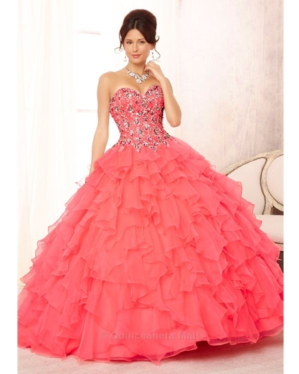 Quinceanera Dress #88092 Embroidered and Beaded Bodice on a Ruffled Organza Skirt. Matching Bolero Included. Colors Available: Deep Blue, Neon Pink, Bright Purple, White.