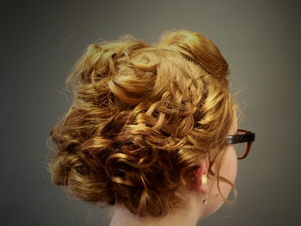 Messy curly bun with a 5-strand braid. | My Updos | Pinterest