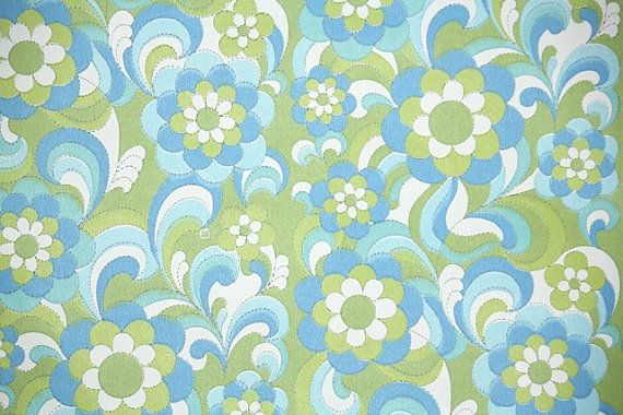 1970 39 s vintage wallpaper retro green and blue floral