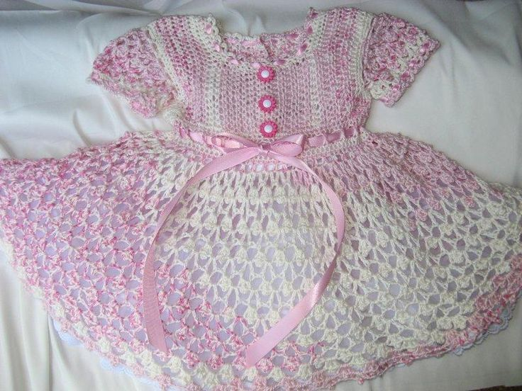 Pink and cream baby dress