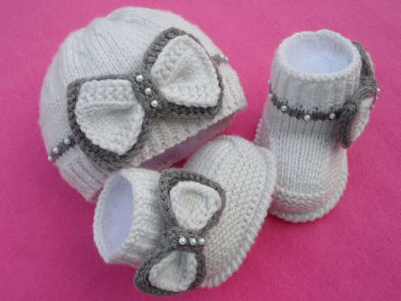 Knitting Pattern For Baby Boy Shoes : Knitting PATTERN Baby Set Baby Shoes Knitted Baby Hat Pattern Baby Bo?