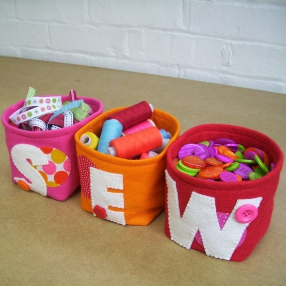 Alphabet  felt storage boxes by  paperandstring
