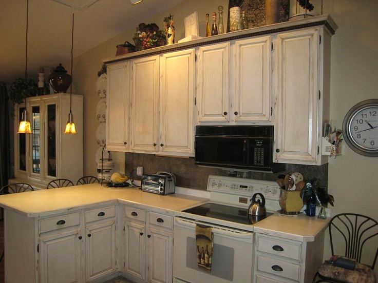 distressed cabinets Kitchen cabinets Pinterest