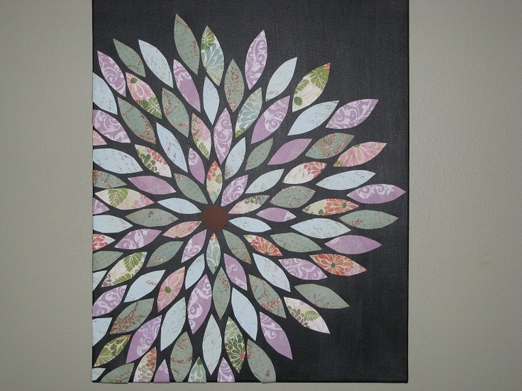 Scrapbook flower wall art I made- Happy with how it turned out!  :o)