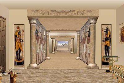 Egyptian mural room setting halloween the secret of for Egyptian wall mural