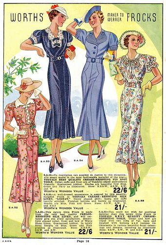 So lovely! Worth's Spring & Summer 1937. #vintage #1930s #fashion #illustrations #dresses