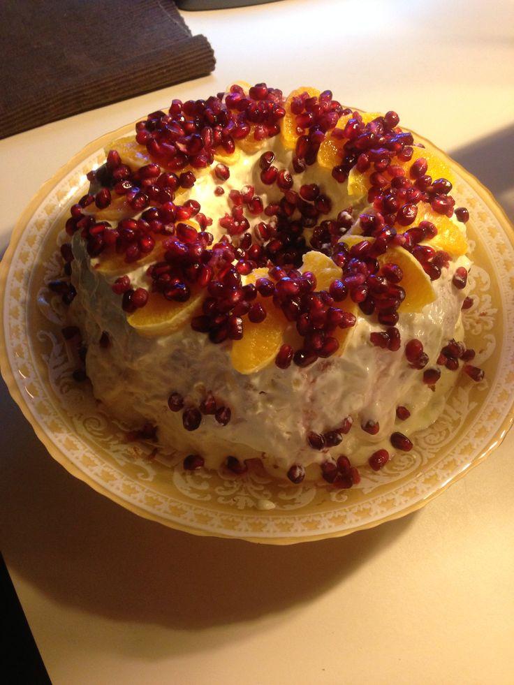 ... fat-free orange, pineapple glaze, orange slices and pomegranate