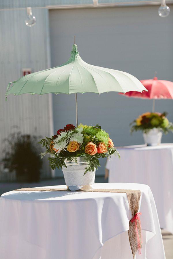 retro umbrella floral arrangements // photo by Shari + Mike Photographers // florals by Fresh