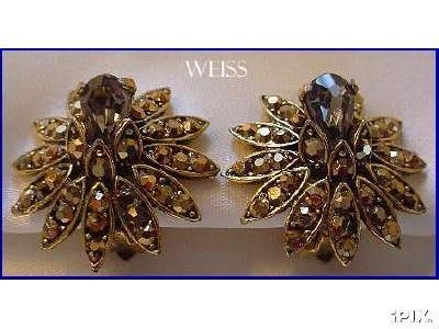 Weiss Gold Flower Earrings  My Vintage Jewelry  Pinterest