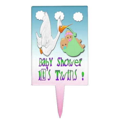 boy and girl twins 2 stork baby shower cake topper
