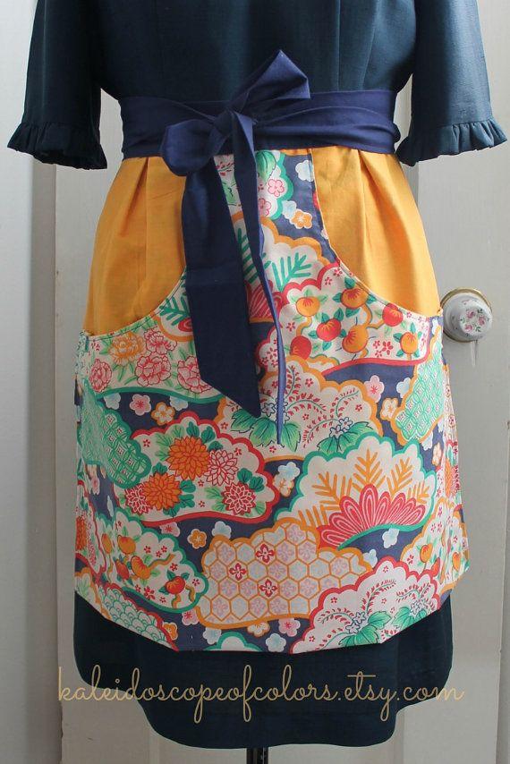 Mint, Purple, Navy and Orange Bohemian Floral Print Half Apron