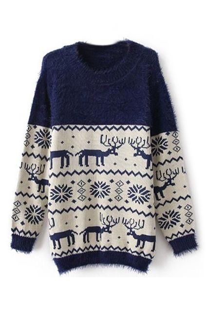 ROMWE Christmas Sweater Deers & Snowflake Pattern Blue Causul Jumper