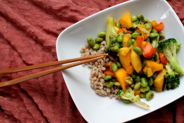 Mango Ginger Stir Fry with Carrots, Broccoli, and Edamame. By GoodVeg ...