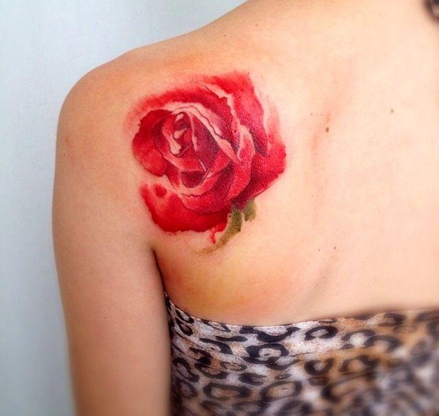 Rose Watercolor Tattoo - Victoroctaviano   Tattoo   Pinterest