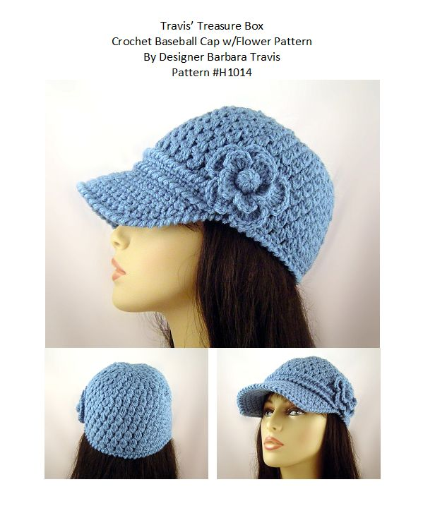 Crochet Baseball Cap with Flower Happy Hooker Pinterest