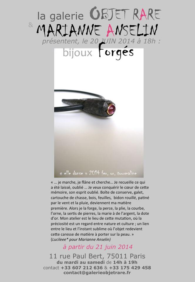 Bijoux Forgés de Marianne ANSELIN à l'OBJET RARE - paris -  20 juin 2014