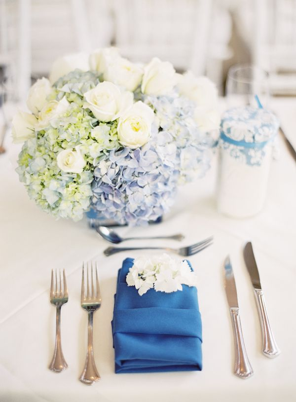 Blue and white hydrangea and white rose centerpiece - Blue and white centerpieces ...