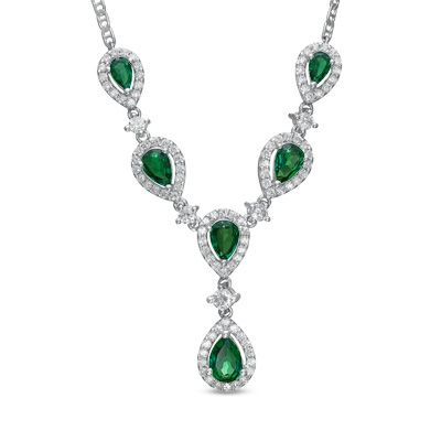 Pear Shaped Lab Created Emerald and White Sapphire Drop