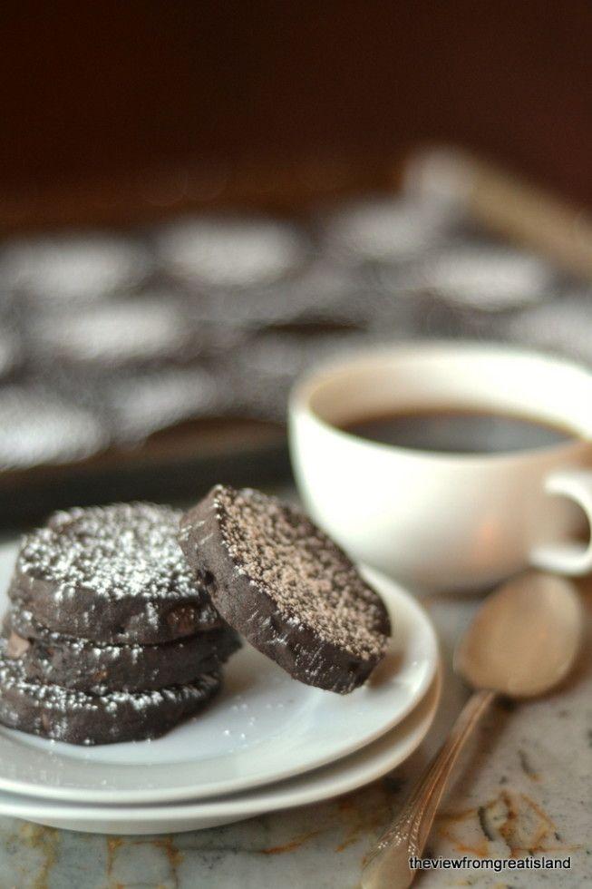 Espresso Chocolate Chip Shortbread Cookies Recipe — Dishmaps
