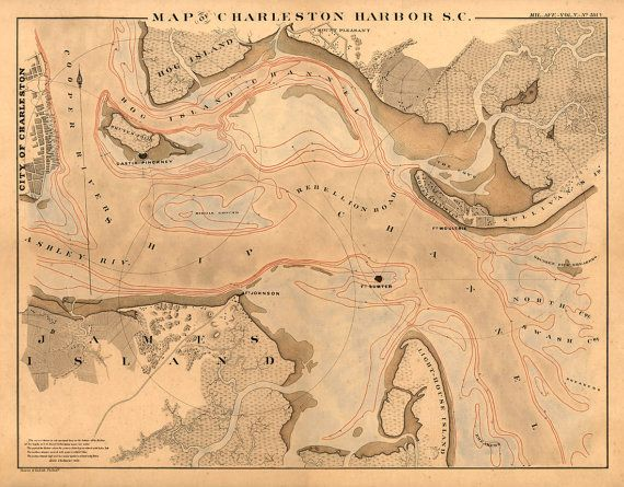 Charleston Harbour Map  Old Map Print  205 X 16
