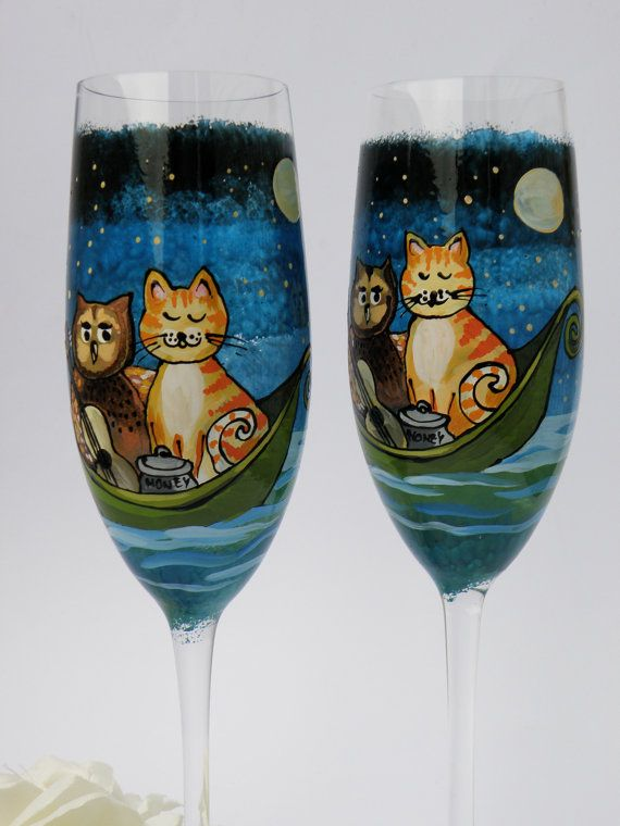 Hand painted wedding toasting flutes set of 2 personalized champagne