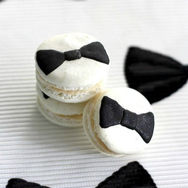 Such adorable black tie macarons as wedding favors