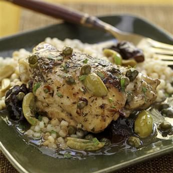 Braised Chicken with Dried Plums, Olives and Capers (yum...but I would ...