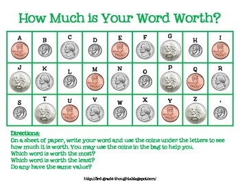 Math + Spelling= How Much is Your Word Worth?