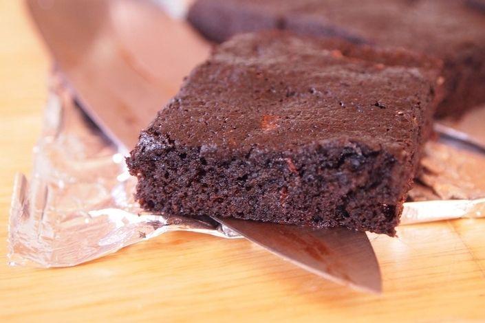 ... - Cocoa olive oil brownies with dark chocolate chunks and sea salt