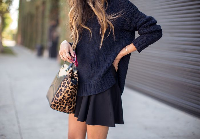 thick sweater, skater skirt, structured bag