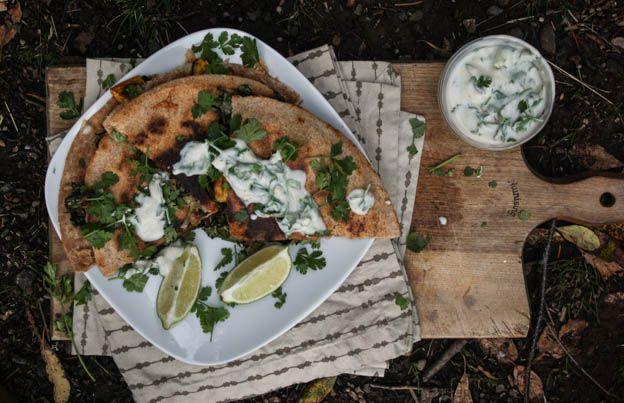 butternut squash and kale quesadillas with cumin-lime yogurt sauce ...