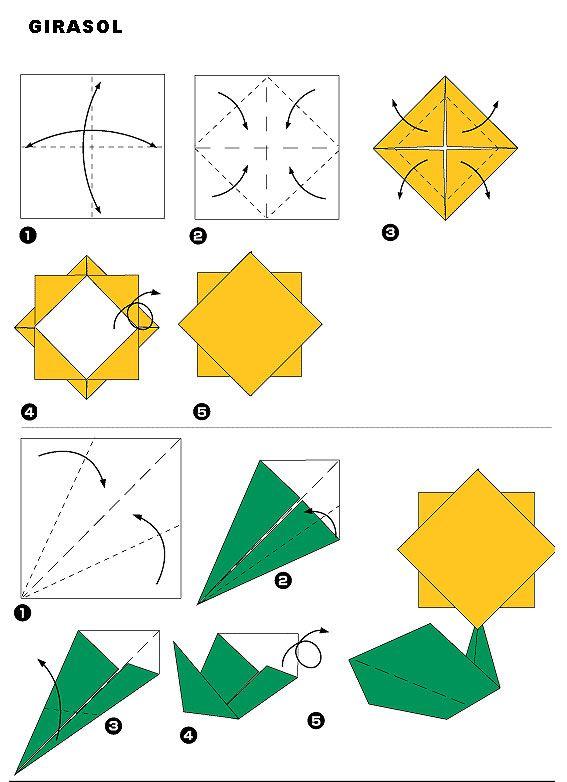 Girasol paso a paso flores origami pinterest - Papiroflexia paso a paso ...