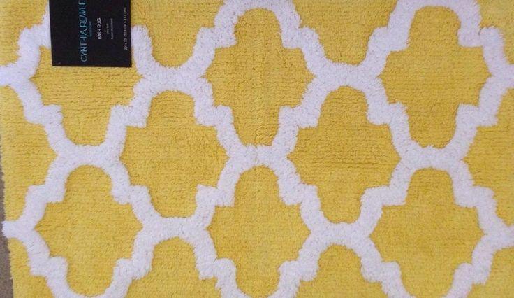 Cynthia Rowley Quatrefoil Bath Rug Yellow And White