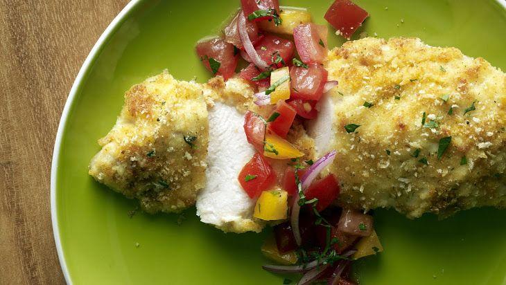 Parmesan-Crusted Bruschetta Chicken | Food chicken | Pinterest