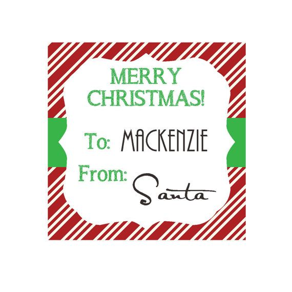 PERSONALIZED Christmas Gift Tags or Favor Tags - PRINTABLE From: SANT ...