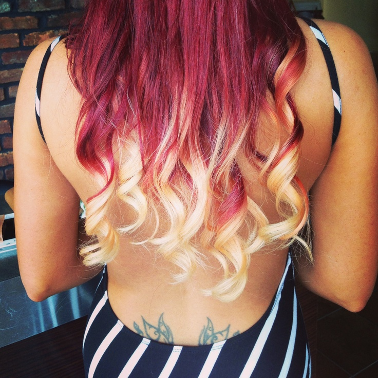 Red And Blonde Ombre Extensions 45