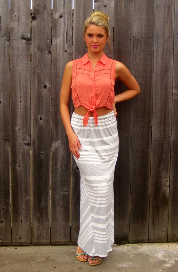 grey and white stripe maxi skirt what to wear