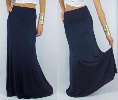 navy blue new maxi skirt mermaid flare bodycon