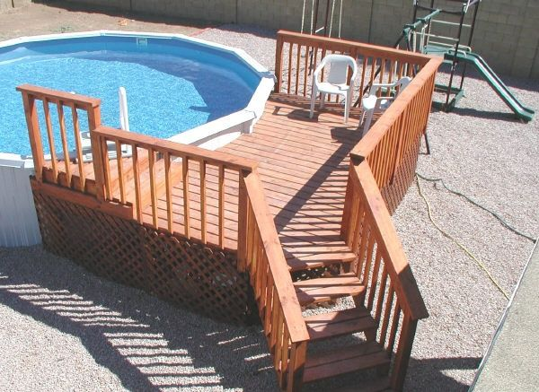 Above ground pool deck diy pinterest for Wood pool deck design